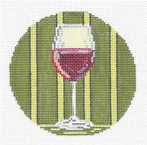 "Round~4"" Red Wine Glass Ornament handpainted Needlepoint Canvas~by Needle Crossings"