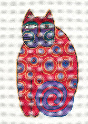 Laurel Burch Red Cat Handpainted Needlepoint Canvas by Danji Designs
