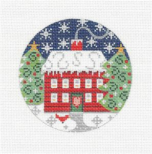 Village Series Red House in Snow on Handpainted Needlepoint Canvas