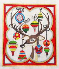 Christmas~ Reindeer with Ornaments handpainted Needlepoint Canvas by Raymond Crawford  **SPECIAL ORDER**