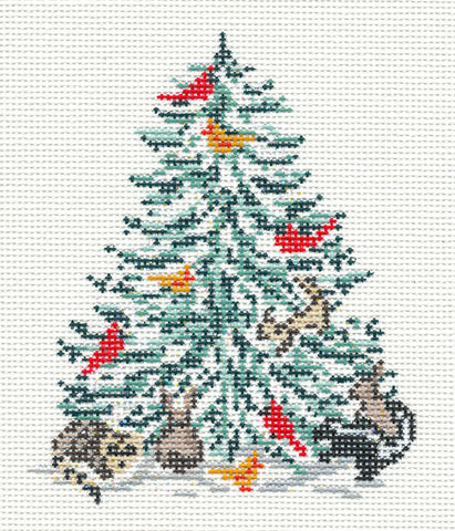 Canvas~ Christmas Woodland Animals Tree handpainted Needlepoint Canvas~by Needle Crossings