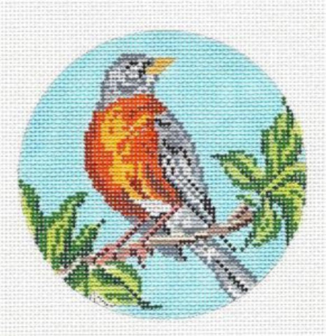 "Round~4"" Robin Bird Ornament handpainted Needlepoint Canvas~by Needle Crossings"
