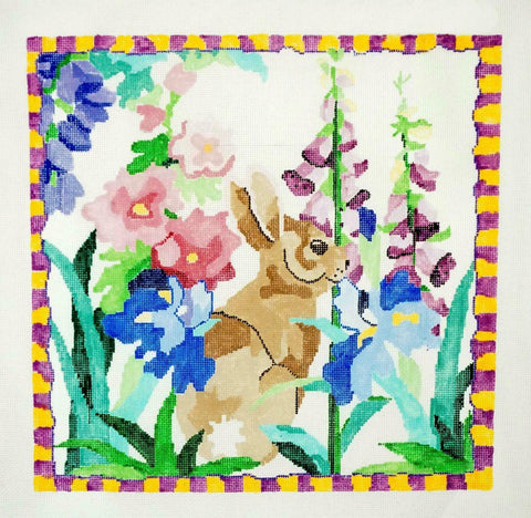 "*New* BUNNY IN MY GARDEN handpainted 16"" Sq. 13 mesh Needlepoint Canvas by Jean Smith"