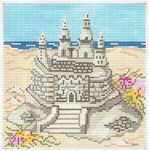Canvas~ Sand Castle Beach handpainted Needlepoint Canvas~by Needle Crossings 13Mesh
