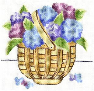 Canvas~Blue & Purple Hydrangea Basket handpainted Needlepoint Canvas by Silver Needle