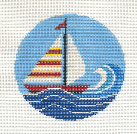 "Round-Summer Sailboat 4"" round handpainted HP Needlepoint Canvas by Danji Designs"
