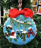 Round~Santa Name on Hand Painted Needlepoint Canvas by JulieMar***SPECIAL ORDER***