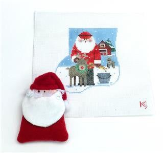 Stocking~Santa Feeding Reindeer SET HP Needlepoint Canvas~by Kathy Schenkel **SP.ORDER**