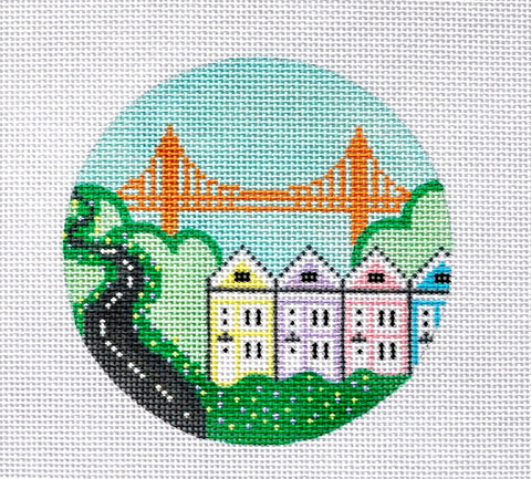 Travel Round~Golden Gate Bridge  San Francisco handpainted Needlepoint Canvas~by Kathy Schenkel**MAY NEED TO BE SPECIAL ORDERED**
