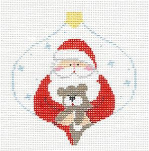 Bauble~Santa & Teddy Bear handpainted Needlepoint Canvas~by Kathy Schenkel