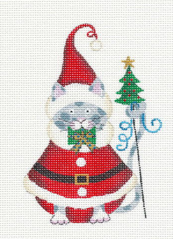Cat-Santa with Present Handpainted Needlepoint Canvas Ornament by Danji Designs