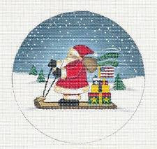 Round-Patrotic Santa on a Sled & Gifts by Danji Designs