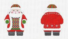 2 Sided Red Jacket Santa & STITCH GUIDE Ornament~ by Susan Roberts