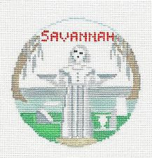 Travel Round~Savannah handpainted Needlepoint Canvas~by Kathy Schenkel**MAY NEED TO BE SPECIAL ORDERED**