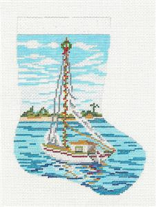 Stocking~Sailboat Mini handpainted Needlepoint Canvas~by Needle Crossings