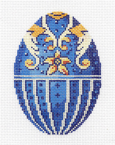 Faberge LEE Blue, Cream & Gold Jeweled Egg handpainted Needlepoint Canvas Ornament