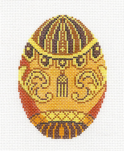 Faberge LEE Golden Tassel Jeweled Egg handpainted Needlepoint Canvas Ornament