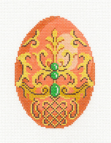 Faberge LEE Elegant Tangerine Jeweled Egg handpainted Needlepoint Canvas Ornament