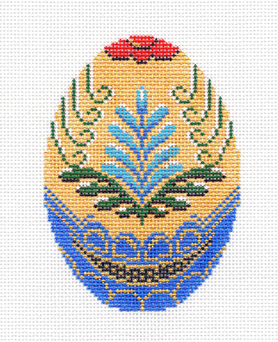 Faberge LEE Blue & Gold Jeweled Egg handpainted Needlepoint Canvas Ornament