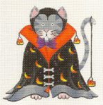 Halloween Cat in Cape With Crescent Moons on hand painted Needlepoint Canvas  ~ by Danji Designs