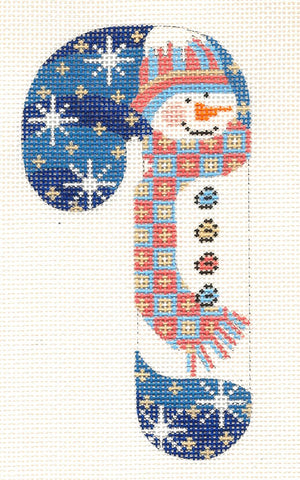 Medium Candy Cane Snowman with Scarf and Hat Ornament on hand painted Needlepoint Canvas~ by Danji Designs