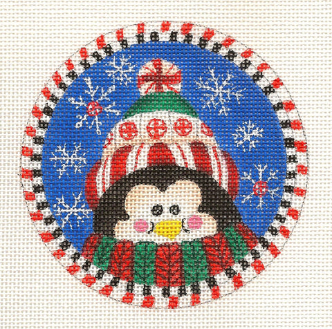 Round-Winter Penguin and Snow Ornament on Handpainted Needlepoint Canvas ~ Danji