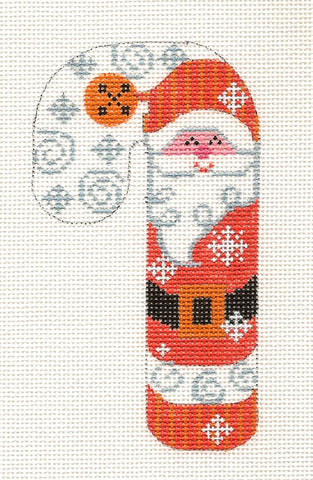 Medium Candy Cane Santa in Peach Ornament on hand painted Needlepoint Canvas~ by Danji Designs