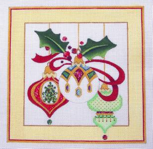 Canvas~THREE ELEGANT ORNAMENTS & STITCH GUIDE 13m Needlepoint Canvas