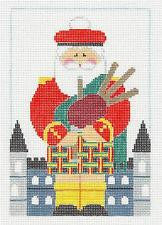 Canvas~Scottish Bagpiper Santa with Stitchguide handpainted Needlepoint Canvas~by Kathy Schenkel
