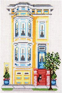 Canvas House~Pacific Height's Row House, San Francisco handpainted Needlepoint Canvas~by Needle Crossings