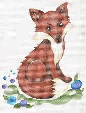 Canvas~Large Sitting Fox in Berry Patch handpainted Needlepoint Canvas by Patti Mann
