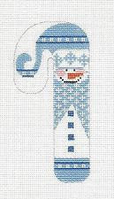 Small Blue Snowman Candy Cane handpainted Needlepoint Canvas Ornament from Danji