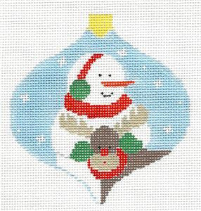 Bauble~Snowman & Reindeer handpainted Needlepoint Canvas~by Kathy Schenkel