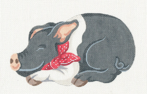 Canvas~Black & White Pig Ornament handpainted Needlepoint Canvas~by Silver Needle