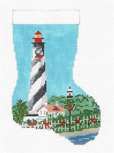 Stocking~St. Augustine, FL Lighthouse Mini Stocking HP Needlepoint Ornament N. Crossings