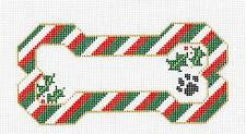 Dog Bone-Christmas Stripes with Paw Print & Holly Ornament by Danji