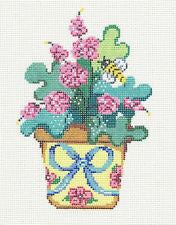 Canvas~Summer Flower Pot of Posies & a Bee handpainted Needlepoint Canvas by Patti Mann