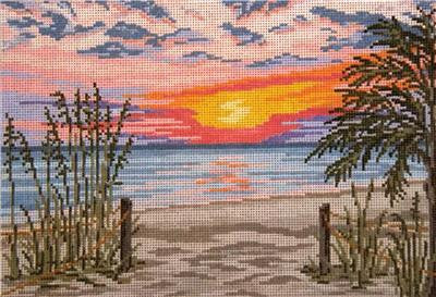Canvas~ Sunset Beach handpainted Needlepoint Canvas~by Needle Crossings