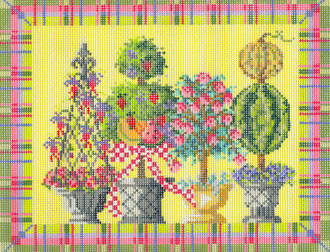Kelly Clark Canvas– Summer Topiaries & Stitch Guide  handpainted Needlepoint Canvas **SP. ORDER**