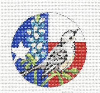 "Round~Texas State handpainted Needlepoint Canvas Ornament 3""Round by JulieMar***SPECIAL ORDER***"
