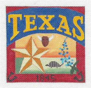 Travel Post Card TEXAS STATE handpainted Needlepoint Canvas Ornament Ewe&Eye