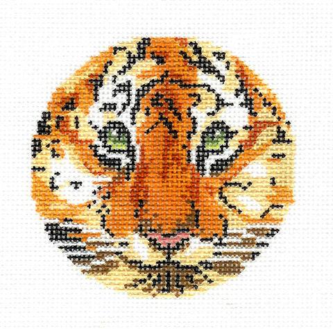 "Round~LEE Tiger Face with Green Eyes handpainted Needlepoint Canvas 3"" Rd., 18 mesh"