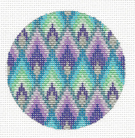 Round- Elegant Bargello Ornament on Handpainted Needlepoint Canvas by Danji Designs
