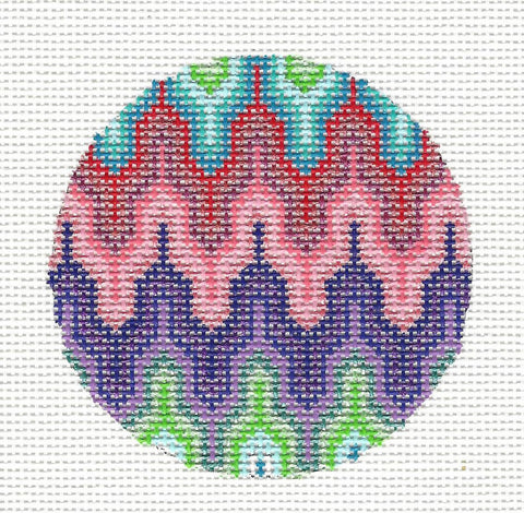Round-Flame Bargello Ornament on Handpainted Needlepoint Canvas by Danji Designs