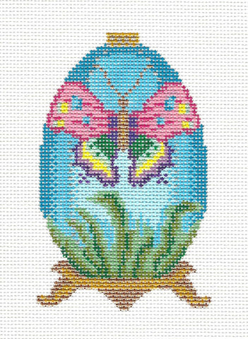 Egg-Butterfly Jeweled Ornament on Handpainted Needlepoint Canvas~ by Danji Designs