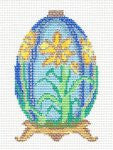 Egg-Daffodil Jeweled Ornament on Handpainted Needlepoint Canvas~ by Danji Designs
