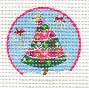 Round~Christmas Tree w/ Pink HP Needlepoint Canvas & Stitch Guide by JulieMar*** SPECIAL ORDER***