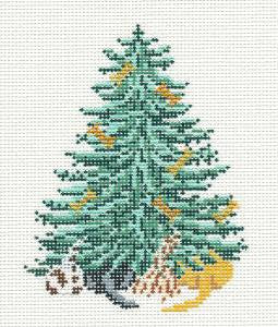 Canvas~ Christmas Dog and Dog Bone Tree handpainted Needlepoint Canvas~by Needle Crossings