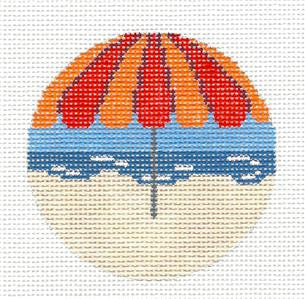 "Round~3"" Umbrella at the Beach Ornament handpainted Needlepoint Canvas~by Needle Crossings"
