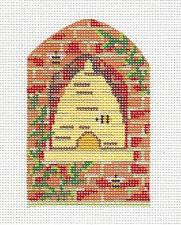 Kelly Clark Canvas – Brick Wall Bee Hive handpainted Needlepoint Canvas ** SP. ORDER**